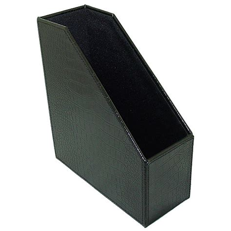 Decorative Filing Boxes Faux Leather Magazine File Box Black Croc In Magazine