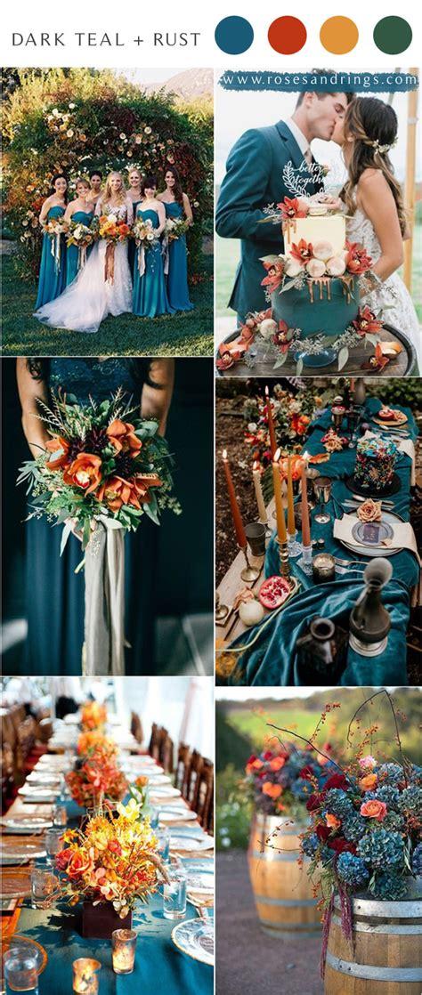 dark teal  rust fall wedding color ideas