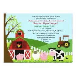 farm animals baby shower invitation zazzle