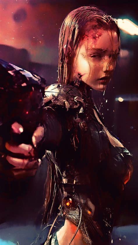 wallpaper cyberpunk girl future tech  creative