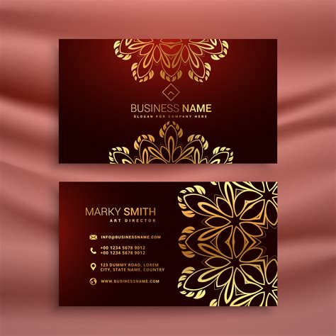 Golden Floral Luxury Business Card Template Download Free Vector Art Stock Graphics Images Luxury Business Card Template