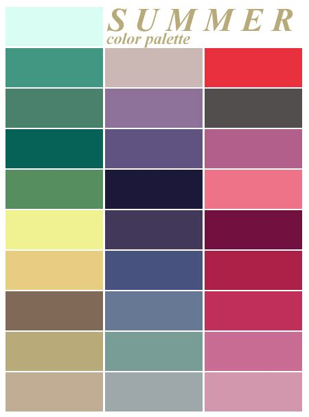 summer colors colour analysis summer