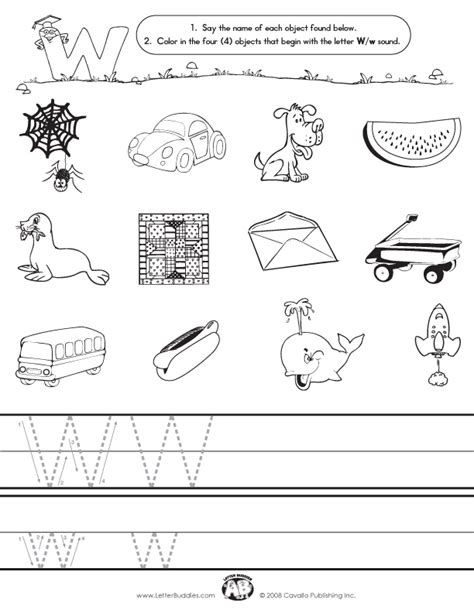 W Worksheets by Initial Sounds Worksheet W