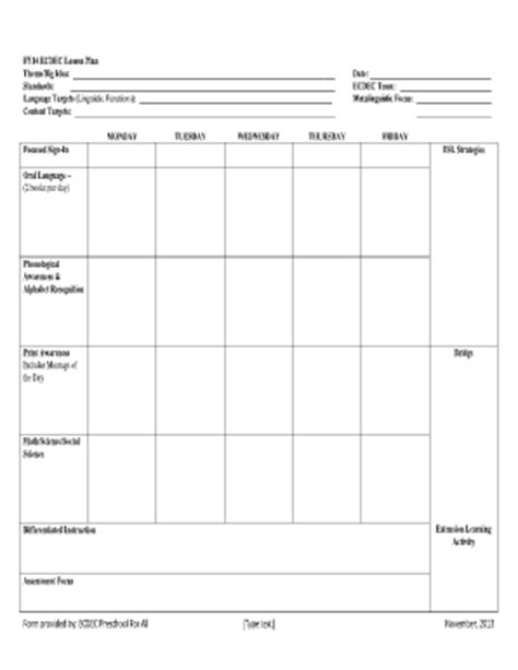 Fillable Lesson Plan Template by Preschool Lesson Plans Fill Printable Fillable