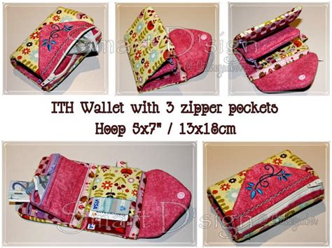 embroidery design wallet ith wallet with up to 3 zipper pockets embroidery design file
