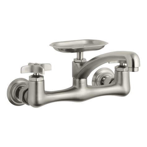 Lowes Utility Sink Faucet Shop Kohler Clearwater Vibrant Brushed Nickel 2 Handle
