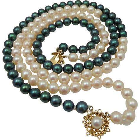 cultured pearl black white cultured pearl necklace 14k clasp from