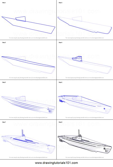 U Boat Drawing by How To Draw A U Boat Printable Step By Step Drawing Sheet