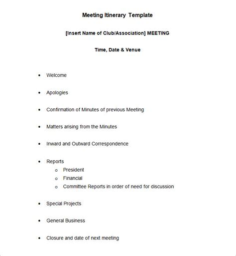 meeting itinerary template word   premium templates