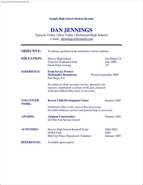 high school student resume templates free sles