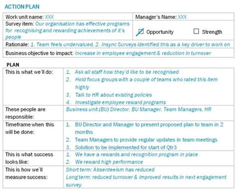 employee engagement plan template how to plan post employee survey employee