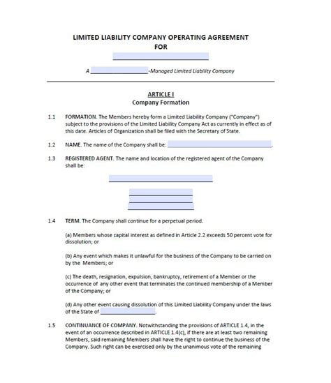 operating agreement templates 30 professional llc operating agreement templates