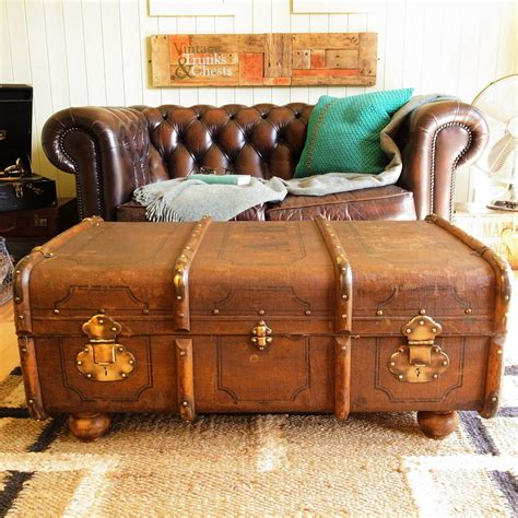 Suitcase Coffee Table Vintage Steamer Trunk Chest Banded Railway Luggage