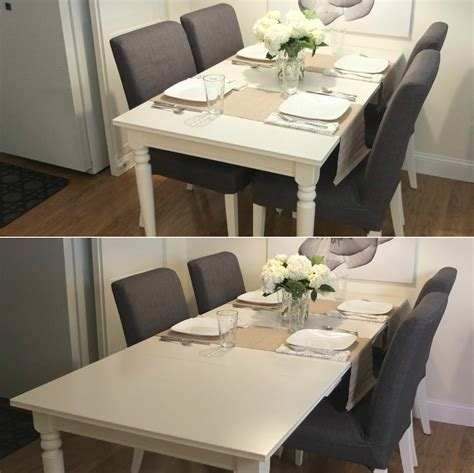 space needed for dining table and chairs ingatorp extendable table white leaves and spaces