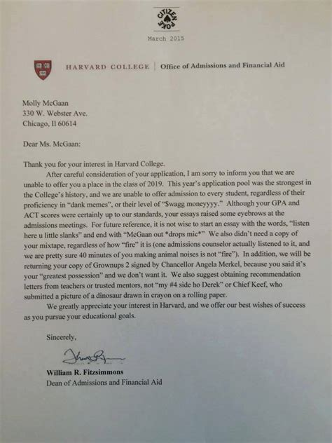 Unconditional Commitment Letter Harvard Rejection Letter Has Much Swag To Be Real Bdcwire