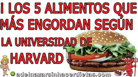 alimentos que no engordan los 5 alimentos que m 193 s engordan top 5 adelgazar sin