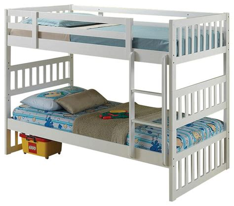 Convertible Bunk Bed Cutie Collection White Finish Wood Convertible Bunk Bed Set Contemporary Bunk