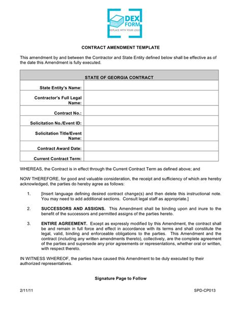 Contract Of Employment Amendment Letter Contract Amendment Template Free Documents For Pdf Word And Excel