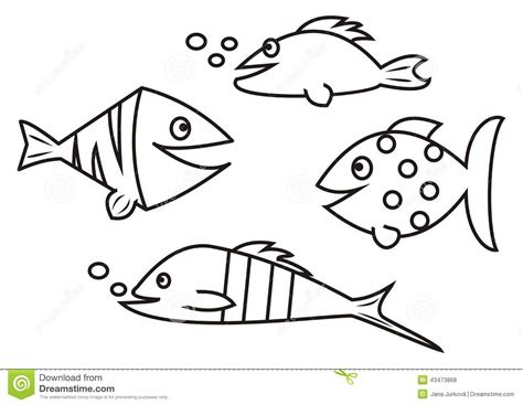 different fish coloring page fishes coloring book stock vector illustration of
