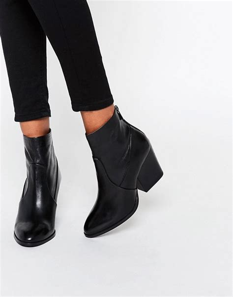 asos asos raya leather heeled ankle boots