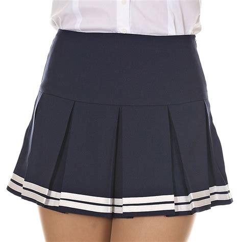 Plain Pleated Mini Skirt solid plain striped hem pleated mini skirt