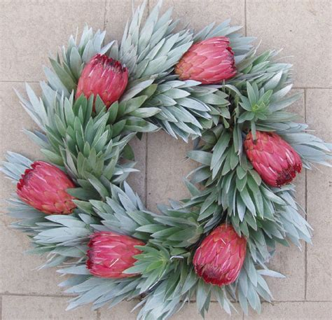 fresh pink silver protea wreath