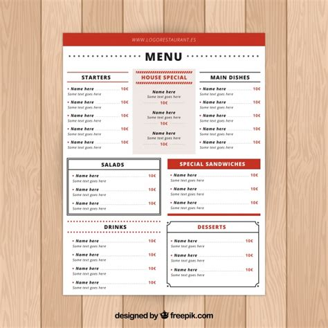 menu sections red restaurant menu with many sections vector free download