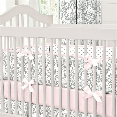 Pink And Gray Traditions Crib Bumper Carousel Designs Baby Bumpers For Crib