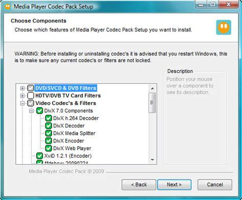 format audio codec media player codec pack 4 1 9 freeware download