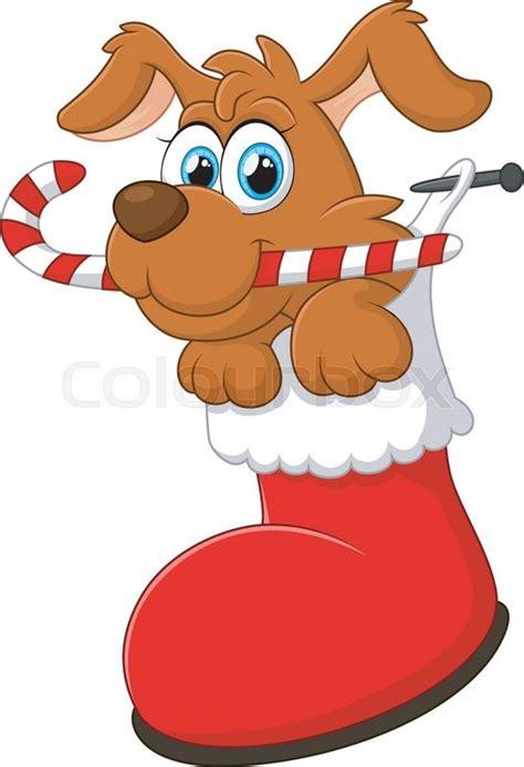 vector illustration  cartoon dog christmas stock vector colourbox