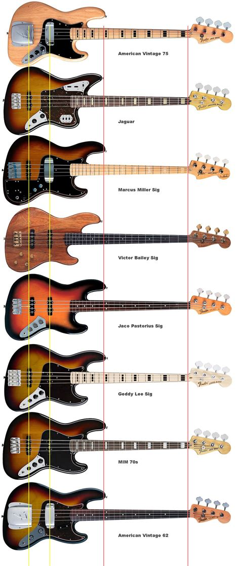 Fun Look At Where They All Line Up Jazz Bass