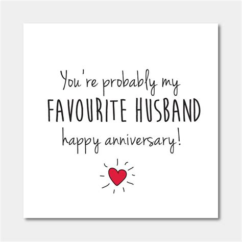 to husband you re probably my favourite husband anniversary card by