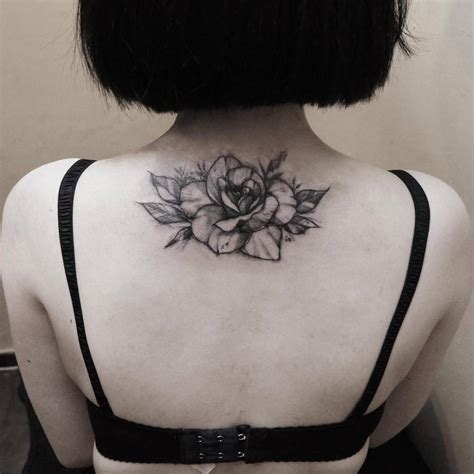 rose on back tattoo flower back tattoos www pixshark images