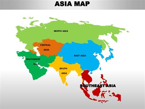south east asia editable continent map with countries