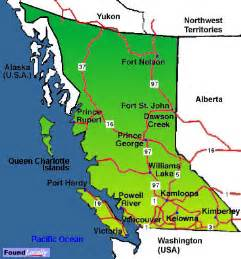 Bc Canada Map by British Columbia Map