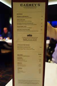 S Steakhouse Menu Review Of Cagney S Steakhouse On Escape