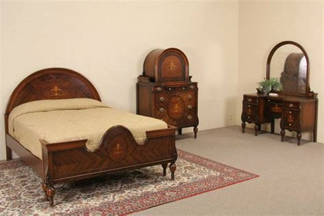 marquetry 1920 s full size antique bedroom set 3 pc ebay