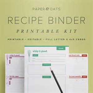free recipe binder templates recipe binder printable kit editable diy recipe by