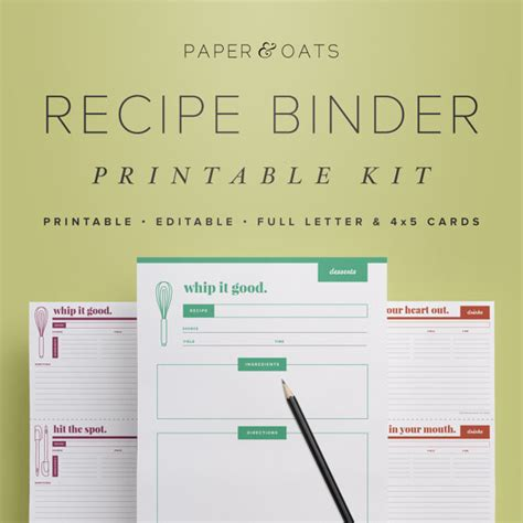 recipe binder printable kit editable diy recipe by