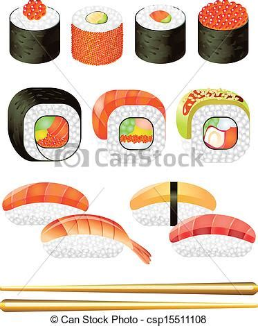 Small Home Design Japan vector clipart of colorful sushi rolls vector set