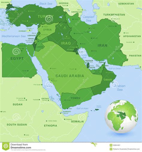 middle east globe map vector vector middle east green map stock vector image 55804461