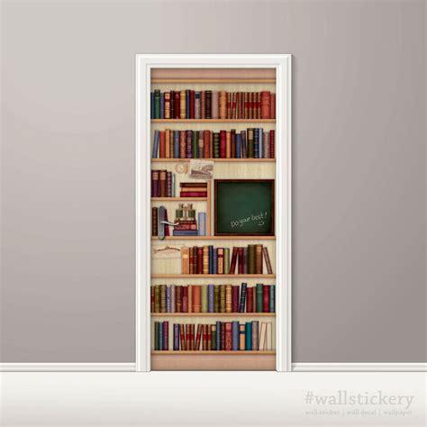 bookshelf door mural wallpaper chalkboard prepasted self