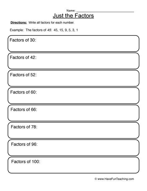 Factorial Worksheet by Factors Worksheets Teaching