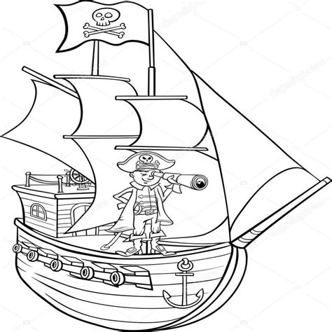 barcos para colorear de piratas en p 195 gina para colorear de dibujos animados de barco