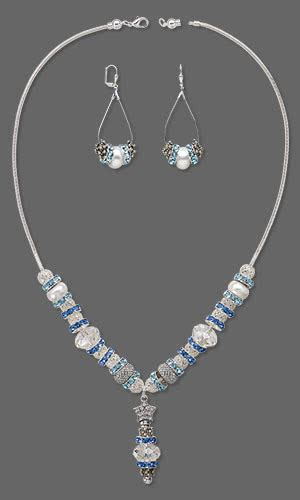 focal swarovski 174 crystals epoxy jewelry design single strand necklace and earring set