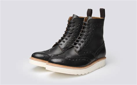 fred s brogue boot in black calf leather with a