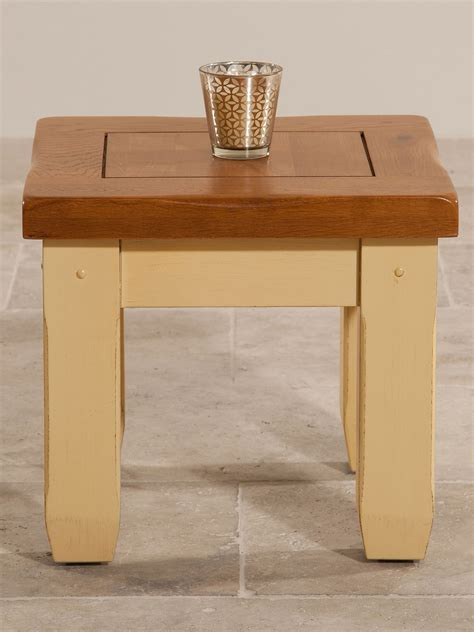 shabby chic rustic oak and painted side table
