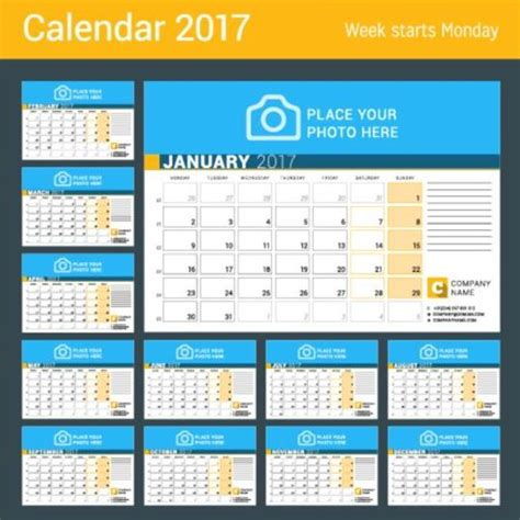 company 2017 desk calendar design vector template 15
