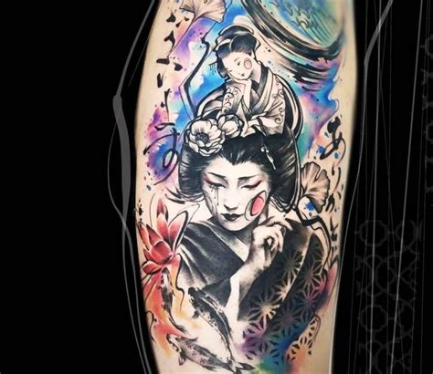 electric crayon tattoo geisha by carolina caosavalle tattoos