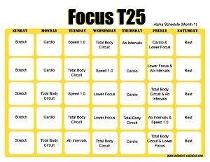T25 Alpha Calendar T25 Workout Calendar Horizontal Month 1 Excercise